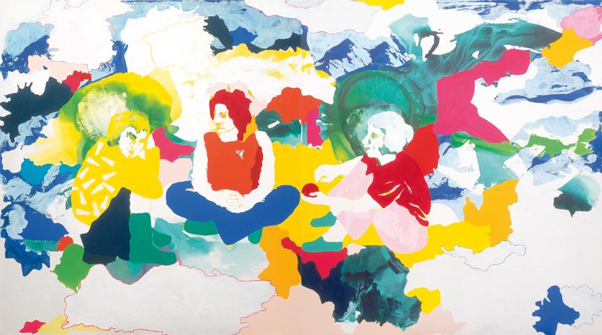 im nu  | Tusche, Acryl, Linoldruck und Öl auf Leinwand | 200 x 360 cm (2tlg.)