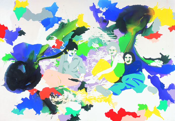 Wo ich wohne  | Tusche, Acryl, Linoldruck u. Öl auf Leinwand | 250 x 180 cm (2tlg.)