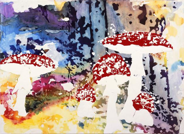 Sammlerglück  | Tusche, Acryl, Linoldruck u. Öl auf Leinwand | 80 x 110 cm