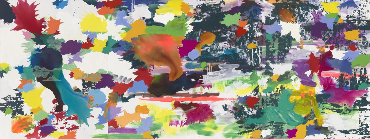 zwischen gestern und morgen    Tusche, Acryl, Linoldruck und Öl auf Leinwand   180 x 480 cm (3tlg.)