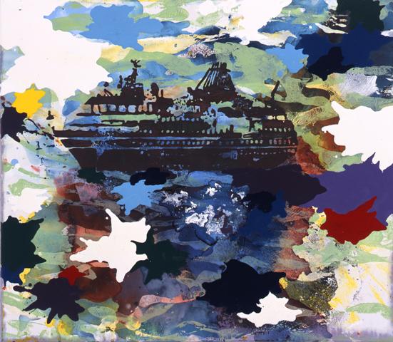 Auf Reisen  | Tusche, Acryl, Linoldruck u. Öl auf Leinwand | 60 x 70 cm