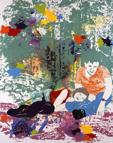 Wenn Tag und Nacht dasselbe ist  | Tusche, Acryl, Linoldruck u. Öl auf Leinwand | 250 x 200 cm