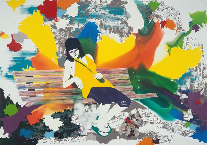 Wie hell der Sommer hier ist  | Tusche, Acryl, Linoldruck u. Öl auf Leinwand | 200 x 300 cm