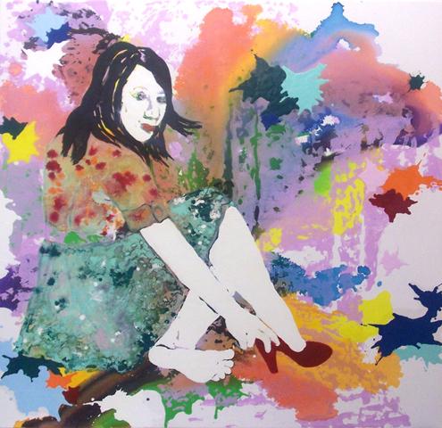 Da ist eine kleine Wolke  | Tusche, Acryl, Linoldruck u. Öl auf Leinwand | 150 x 150 cm