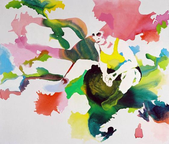 mittendrin  | Tusche, Acryl, Linoldruck u. Öl auf Leinwand | 190 x 185 cm