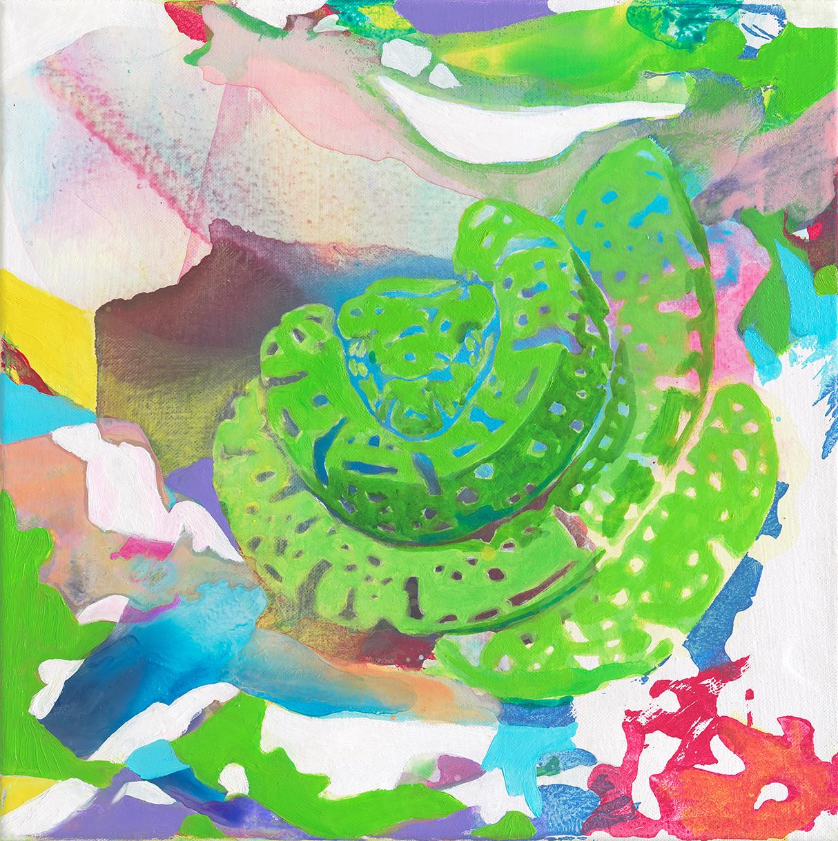 Laßt Euch nicht verführen.  | Acryl, Tusche und Linoldruck auf Leinwand | 40 x 40 cm