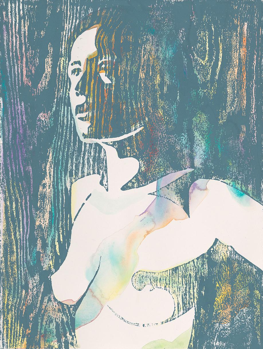 Lilith #5  | Aquarell und Holzdruck auf Büttenpapier | 61 x 46 cm