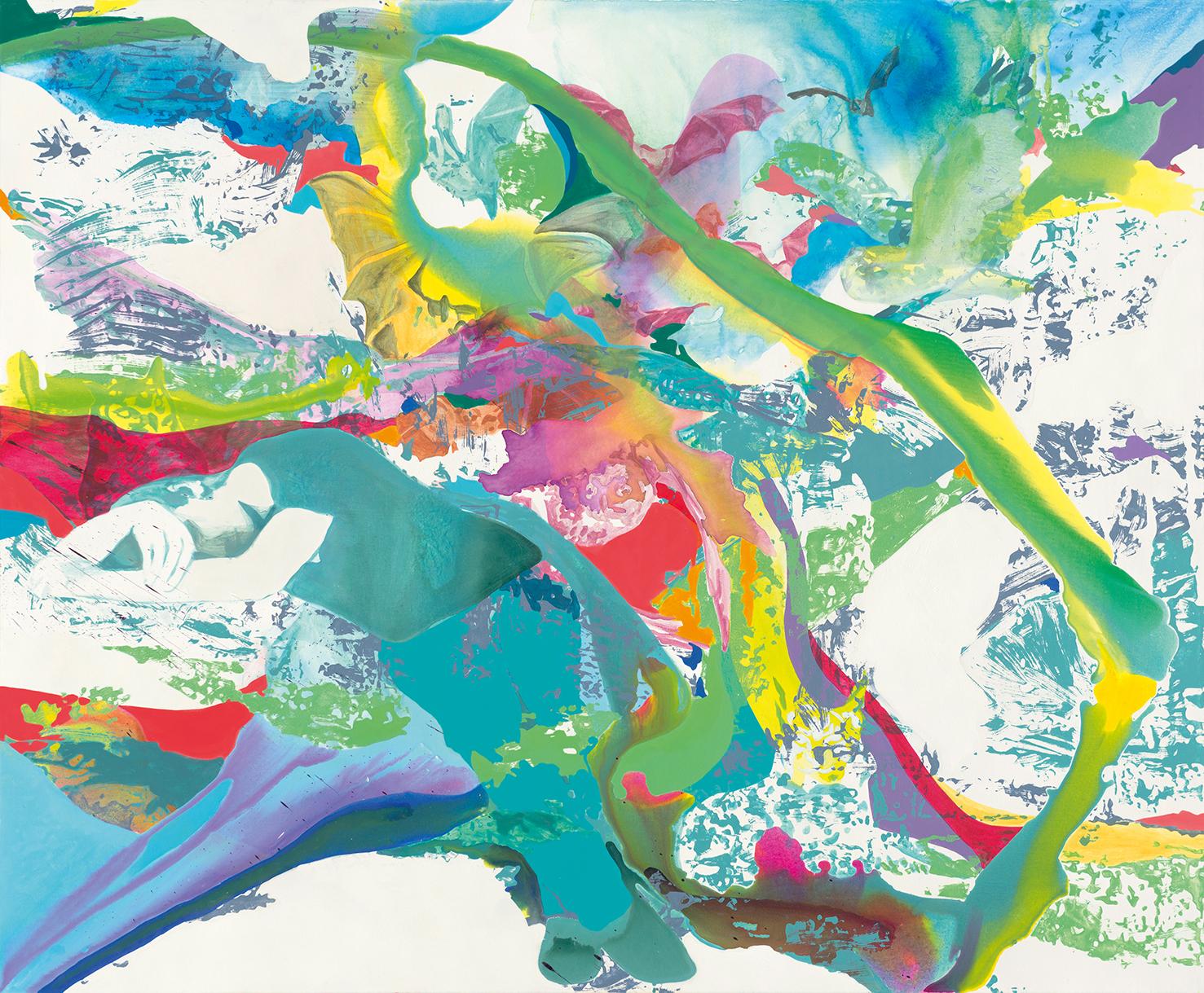 Der Schlaf der Vernunft gebiert Ungeheuer  |Tusche, Acryl, Öl und Linoldruck auf Leinwand | 180 x 220 cm