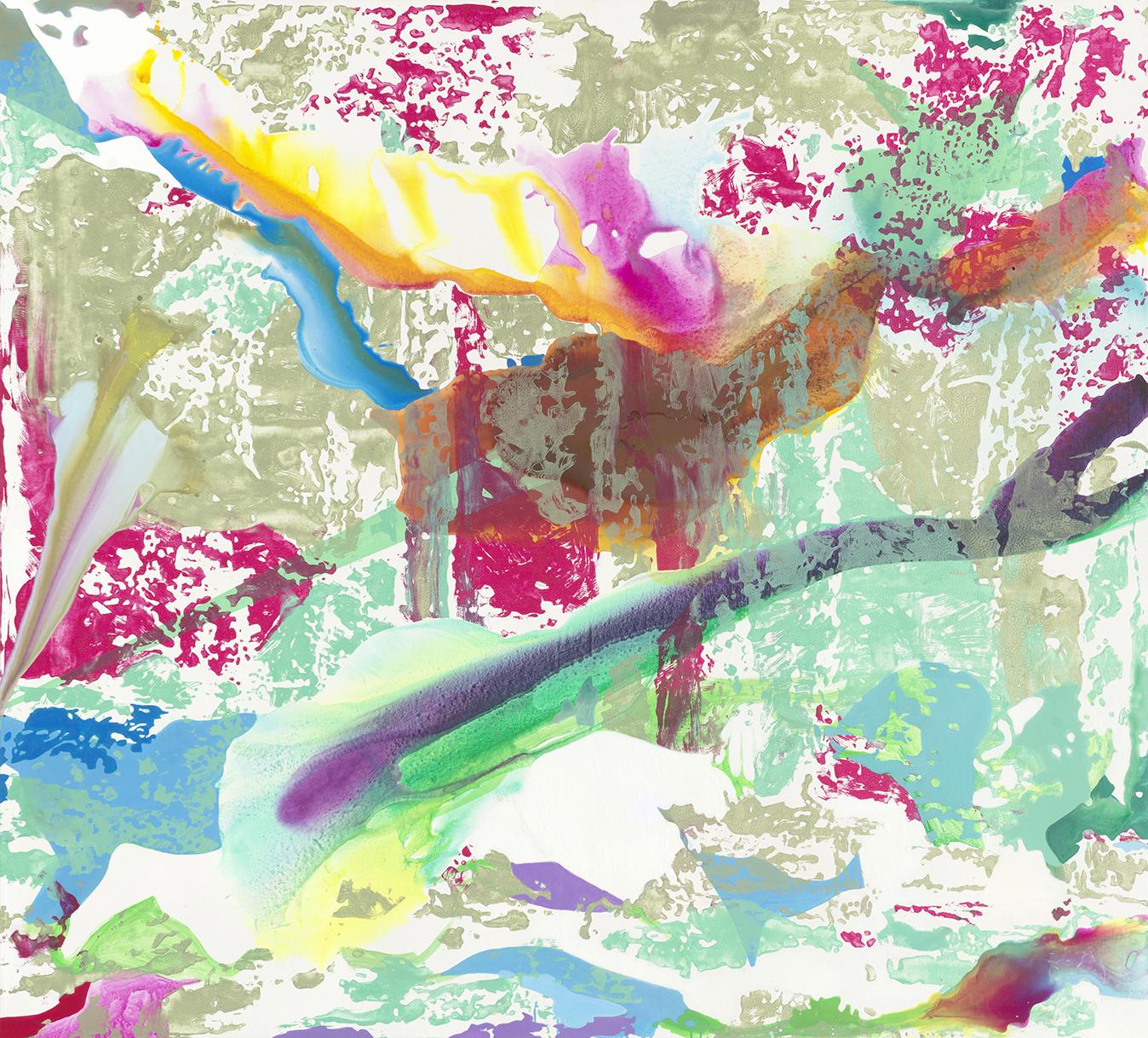 Eden | Tusche, Acryl, Öl und Linoldruck auf Leinwand | 180 x 200 cm