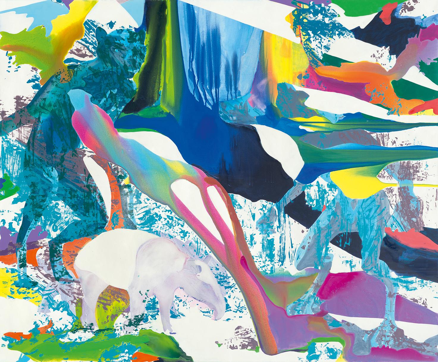 Mein Werwolf | Tusche, Acryl, Öl und Linoldruck auf Leinwand | 180 x 220 cm