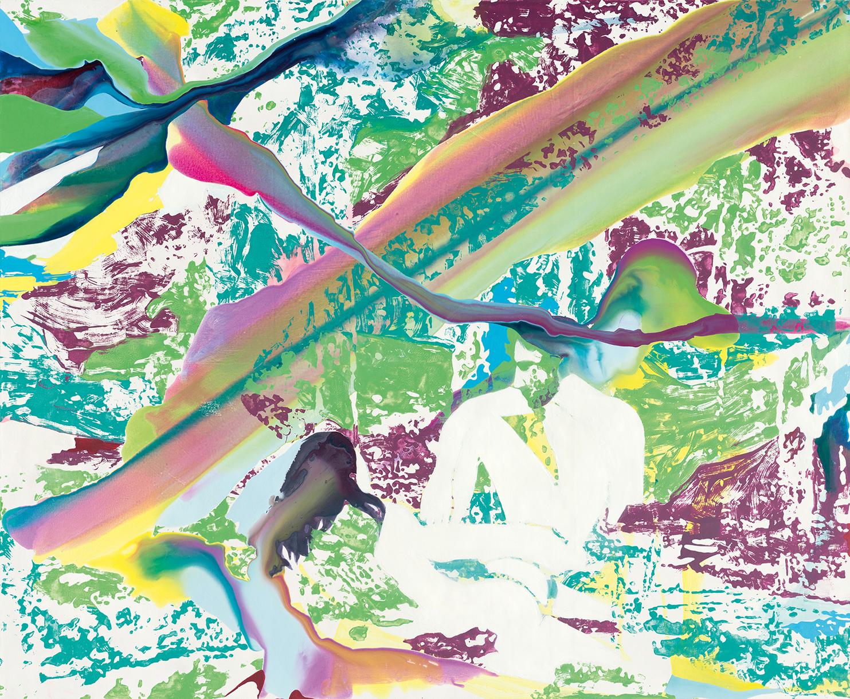 Träume grüne Tropfenwiese | Tusche, Acryl, Öl und Linoldruck auf Leinwand | 180 x 220 cm