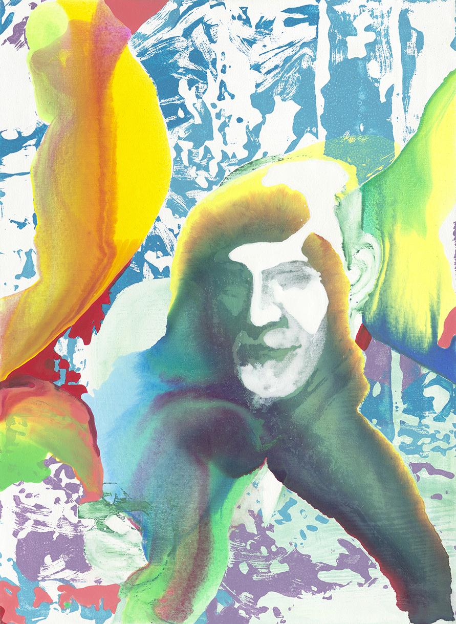 Freud  | Tusche, Acryl, Öl und Linoldruck auf Leinwand | 76 x 56 cm
