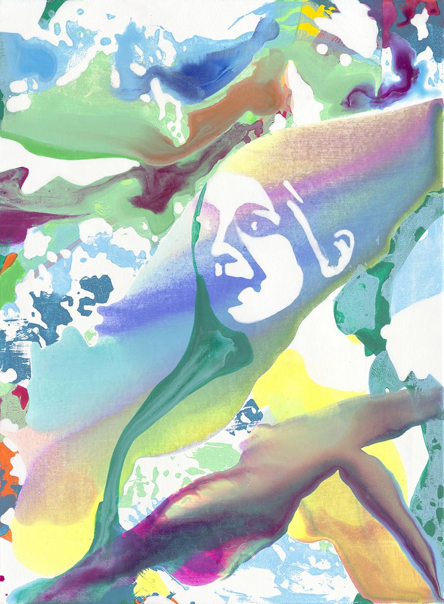 Nicht-Ich | Tusche, Acryl, Öl und Linoldruck auf Leinwand | 76 x 56 cm
