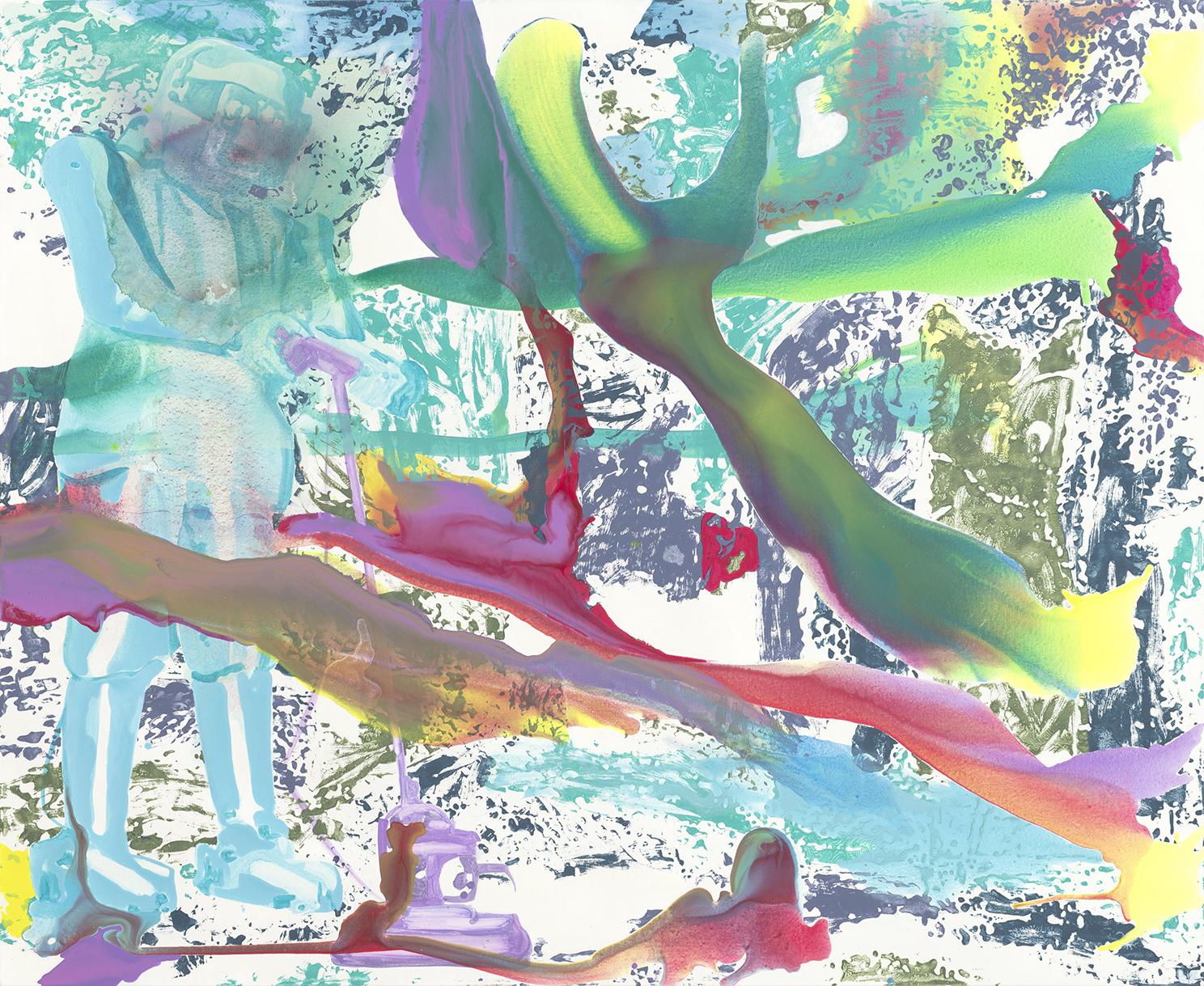 Robotaholica  | Aquarell, Tusche, Acryl und Linoldruck auf Leinwand | 180 x 220 cm