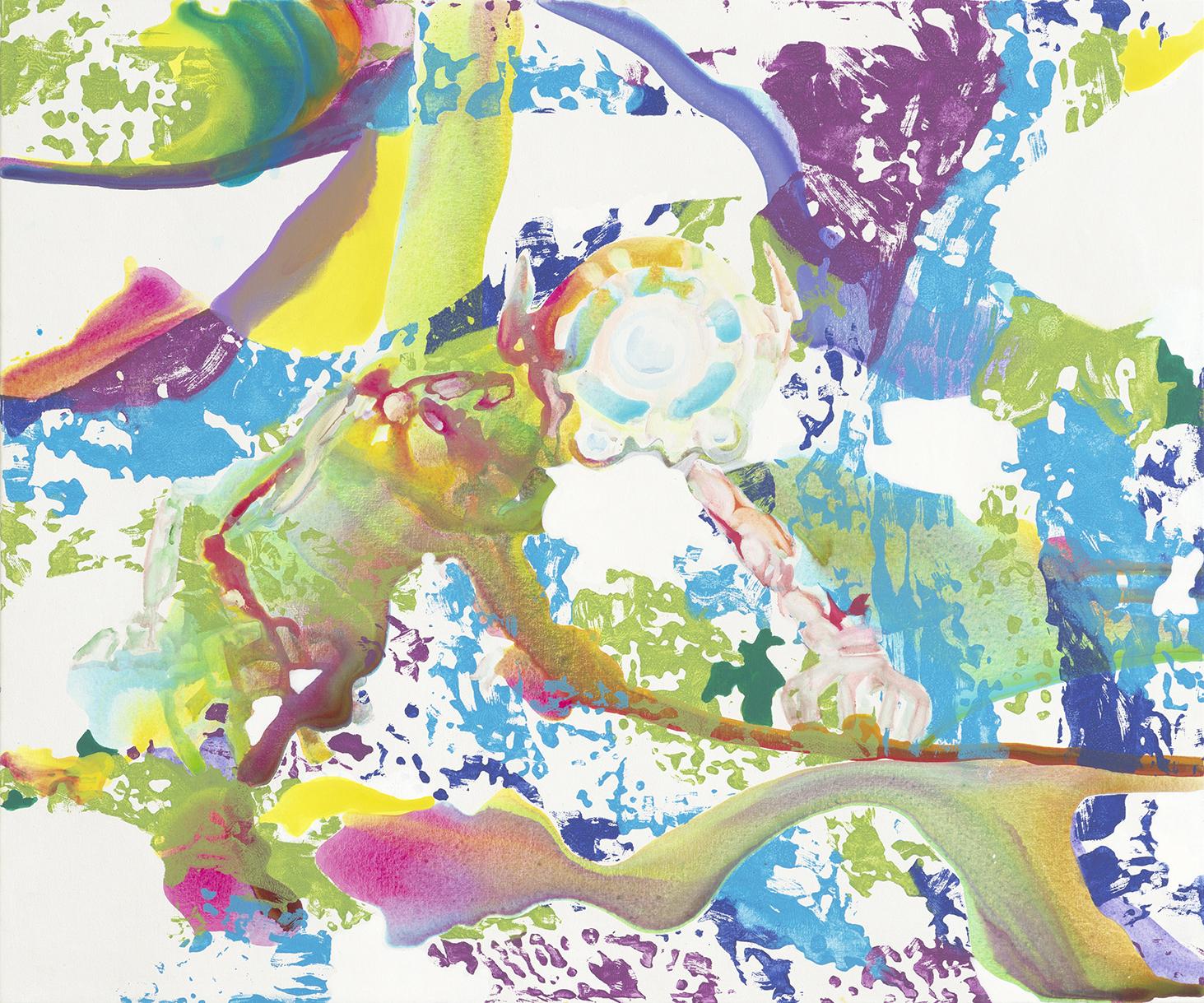 Techcat  | Aquarell, Tusche, Acryl und Linoldruck auf Leinwand | 100 x 120 cm