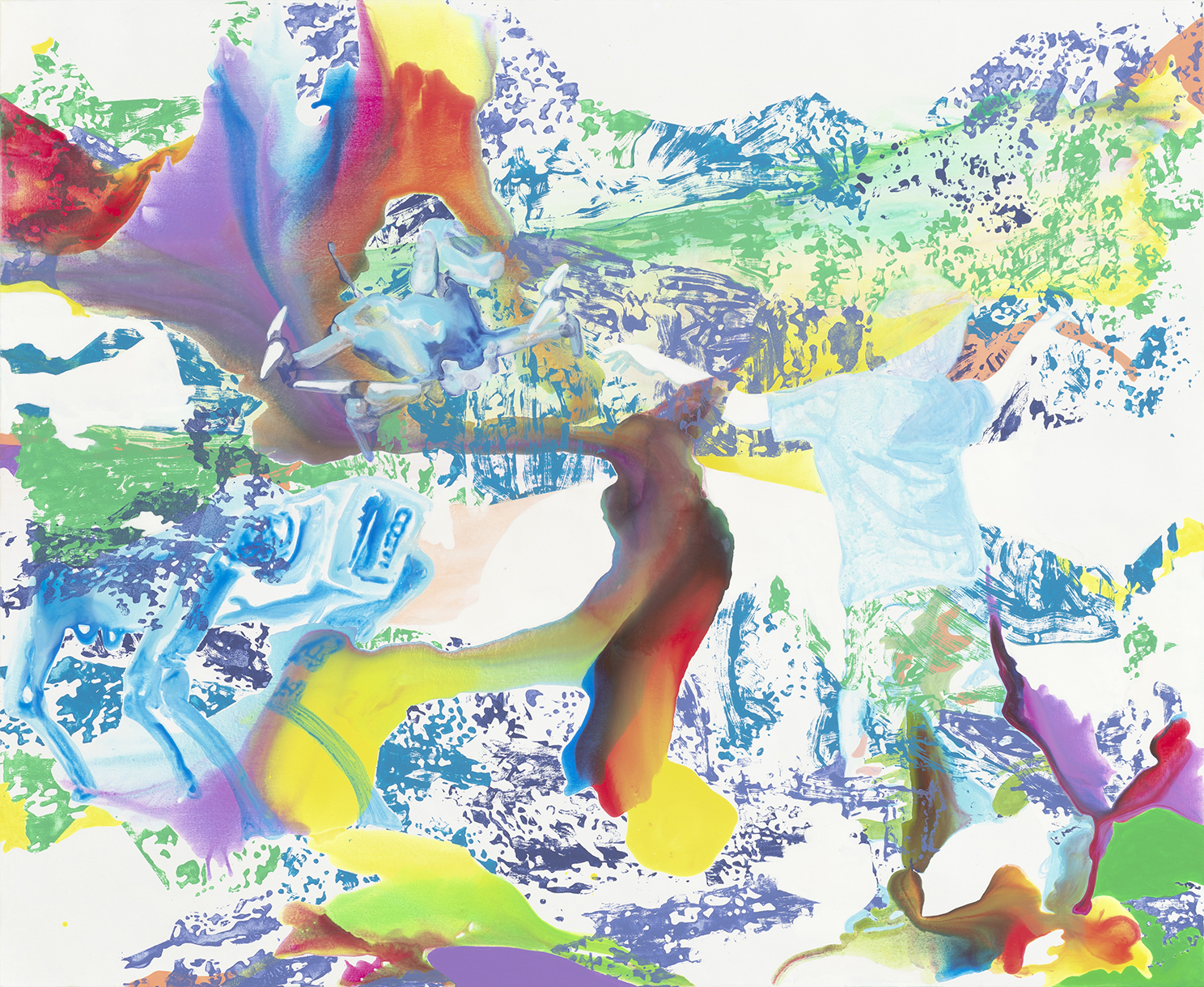 Brave New Friends  | Aquarell, Tusche, Acryl und Linoldruck auf Leinwand | 180 x 220 cm