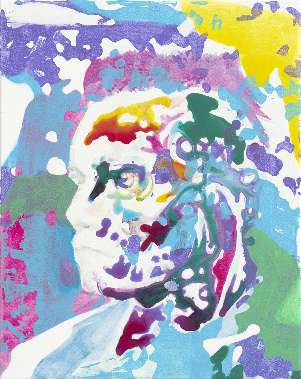 Homo Digitalis  | Aquarell, Tusche, Acryl und Linoldruck auf Leinwand | 50 x 40 cm