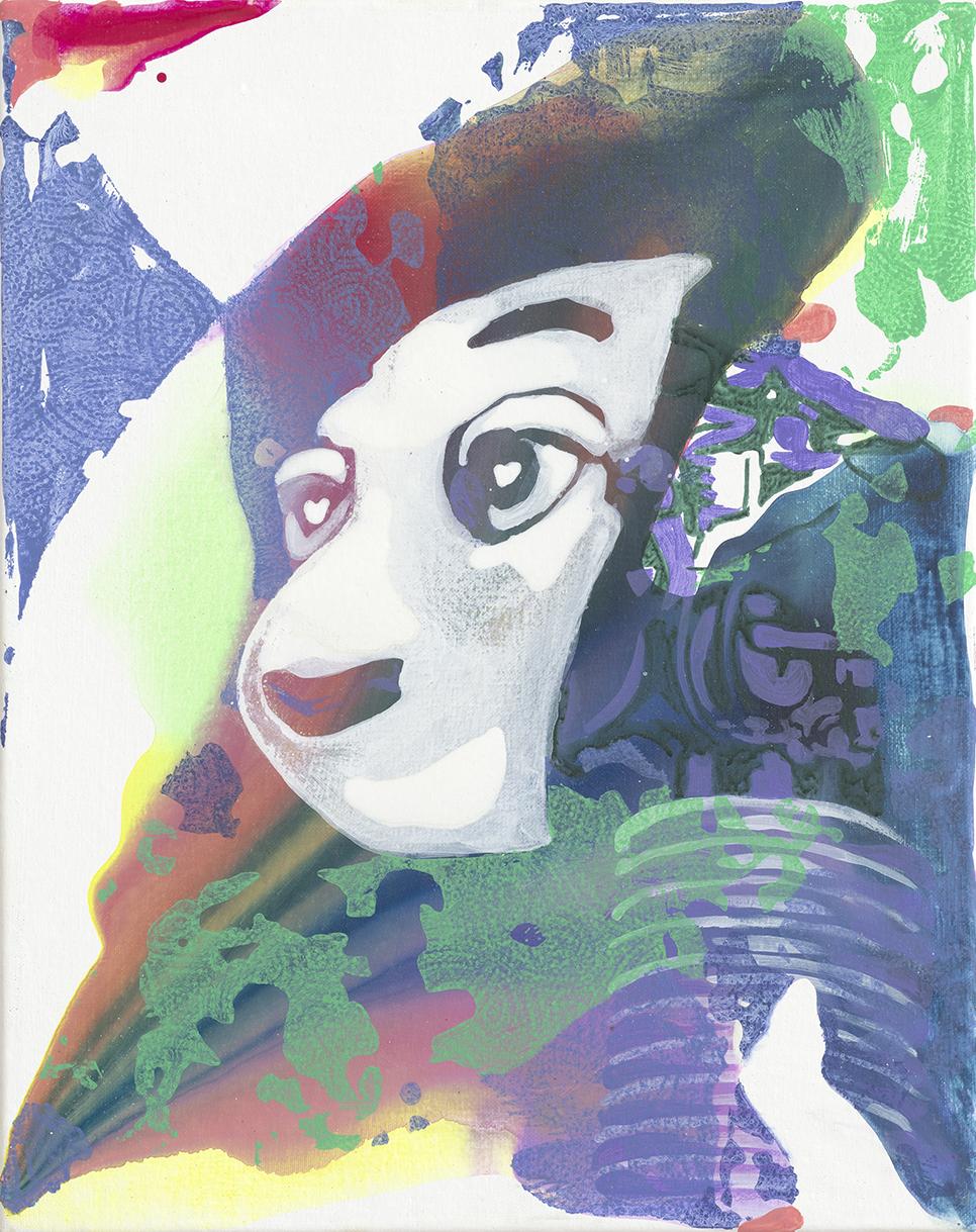 Socialbot  | Aquarell, Tusche, Acryl und Linoldruck auf Leinwand | 50 x 40 cm