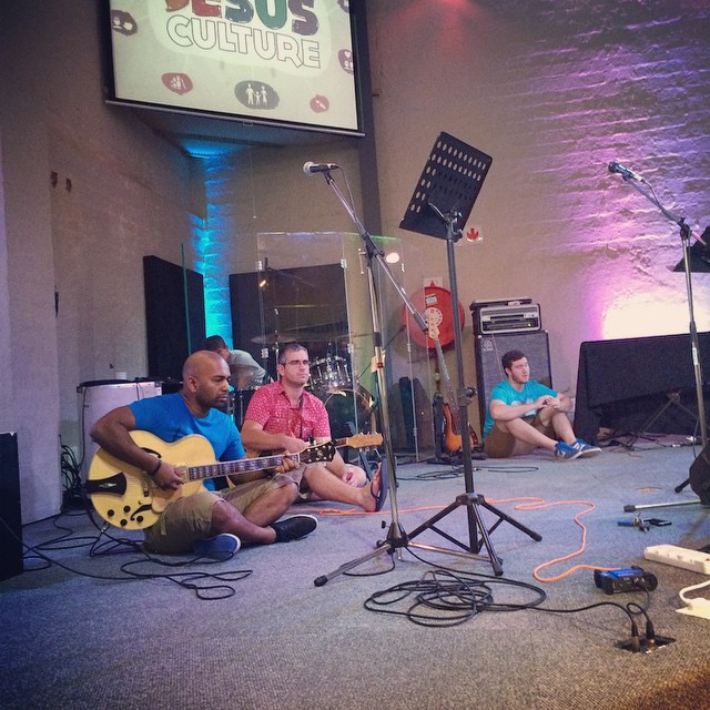 It's a warm day and the worship team are taking a breather.