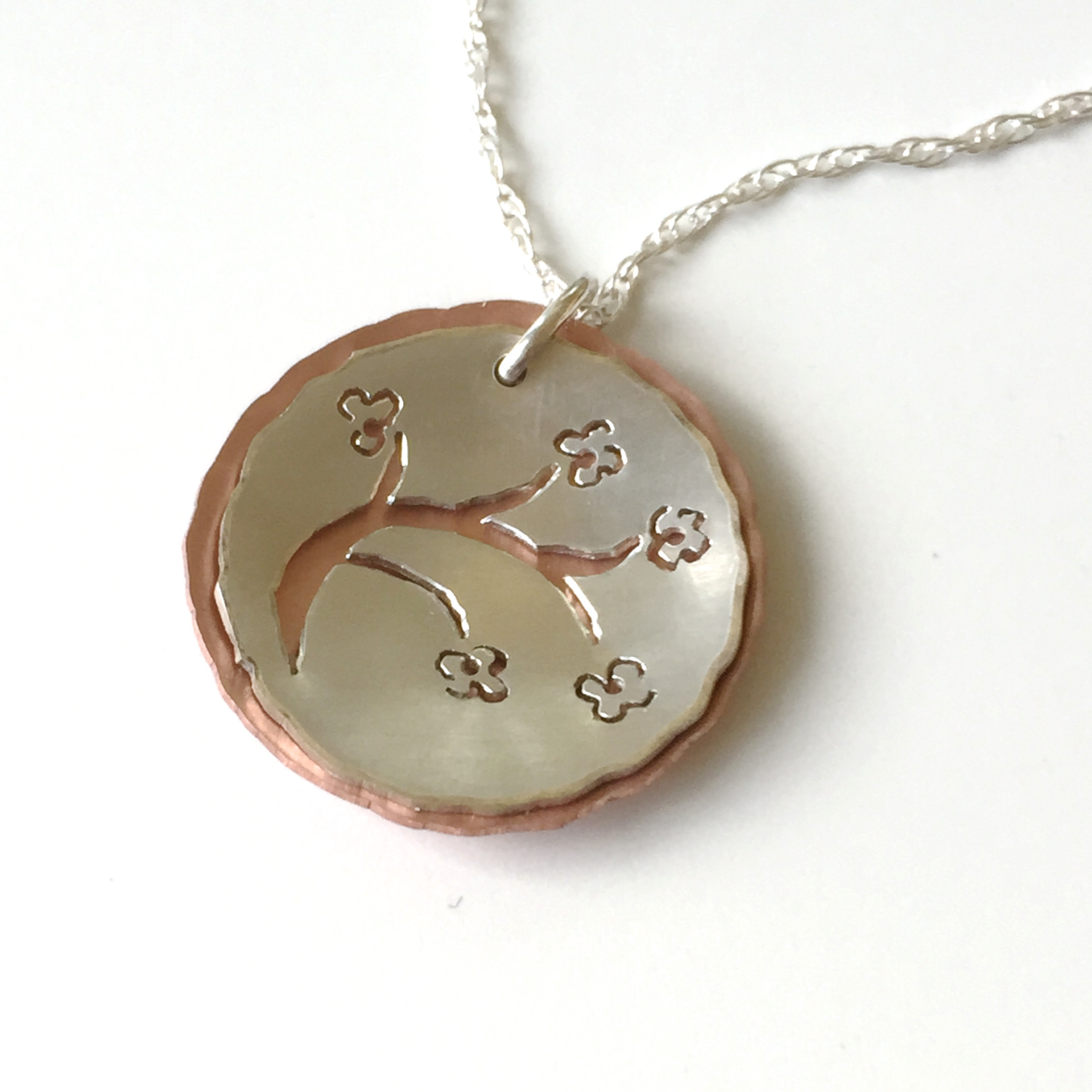 Cherry Blossoms in Silver & Copper