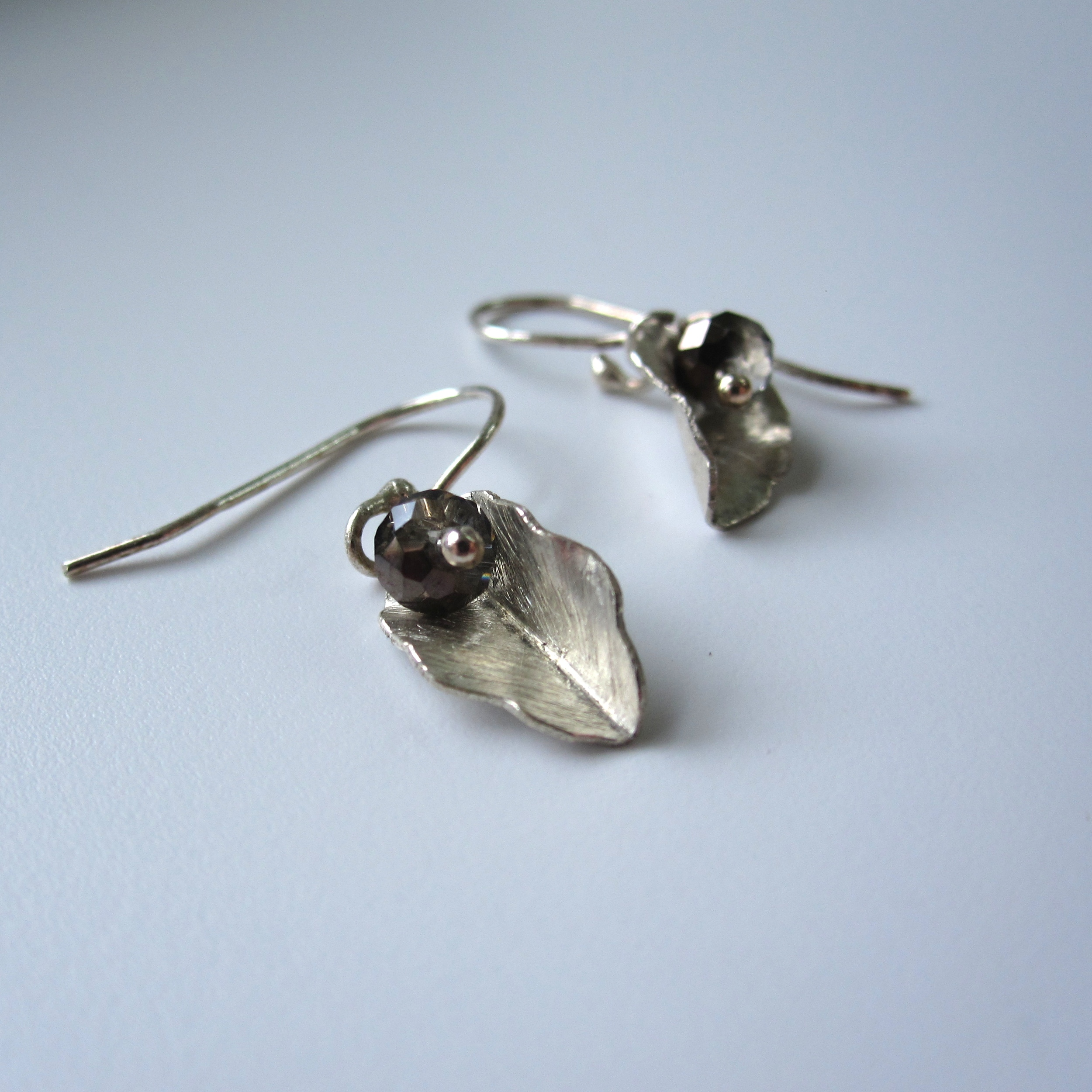 Little Leaves in Silver with Crystal