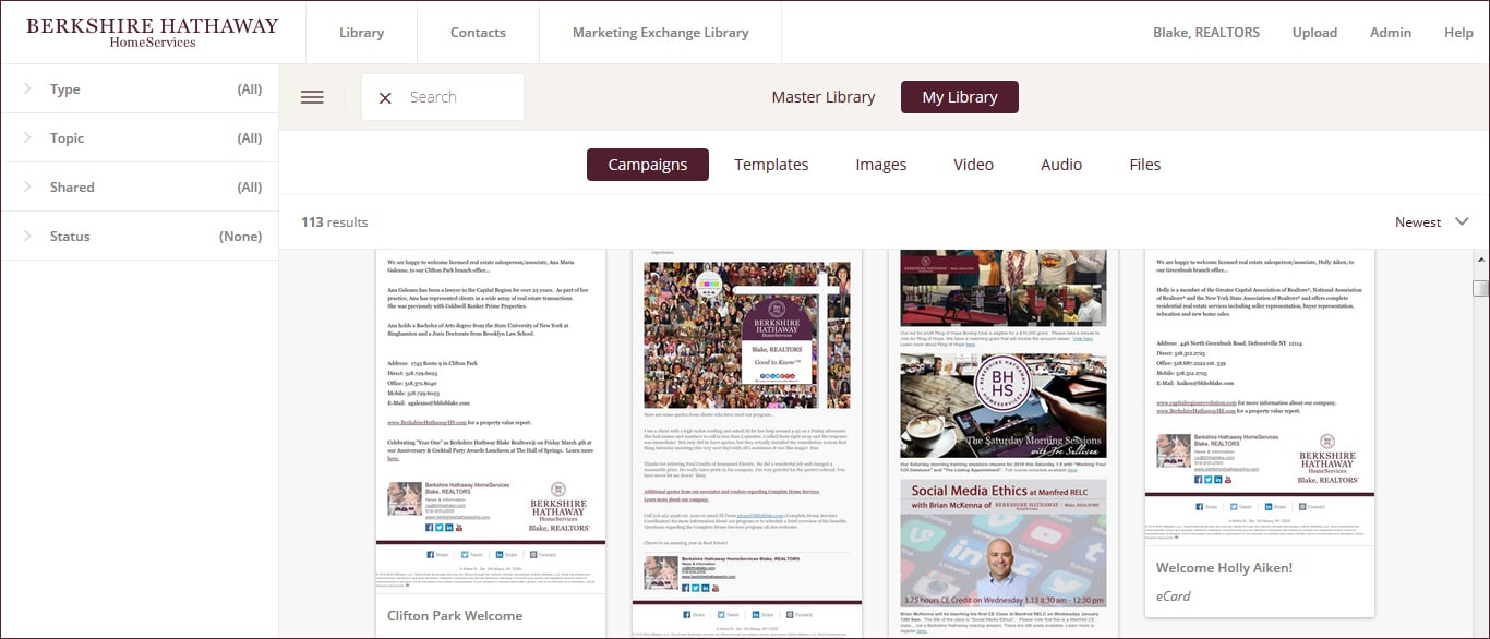 Marketing Exchange Library (content added regularly including videos, images, ecards, social media content and newsletters) to personalize, customize and share everywhere.