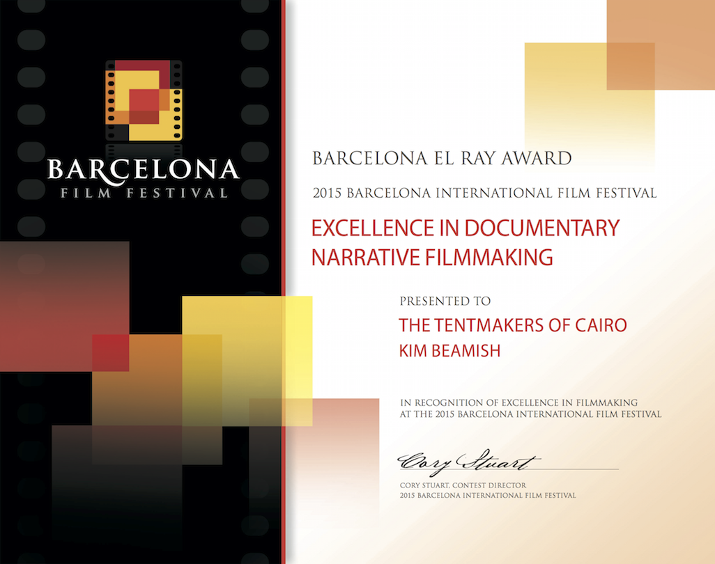 El Ray Award, 2015 - Excellence in documentary narrative filmmaking for 'The Tentmakers of Cairo'.