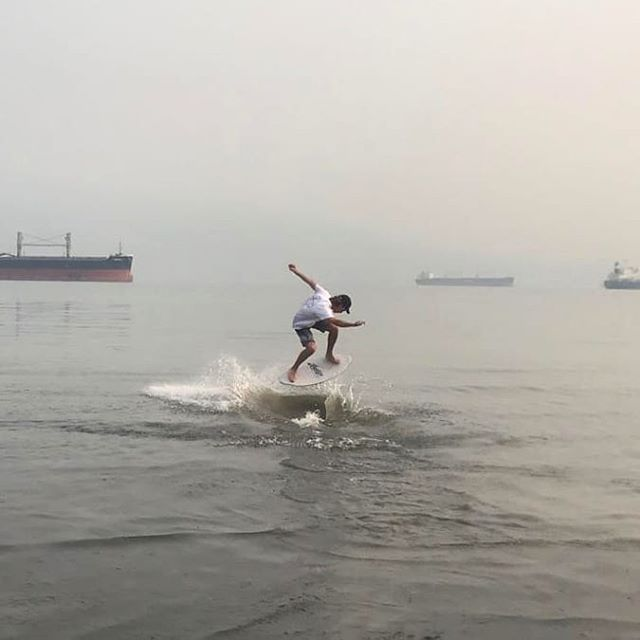 Fire alert 🔥  The man @connor.chillen braving the smoke at Spanish Banks.