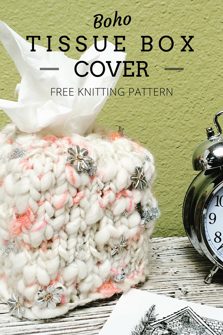 Boho Tissue Box Cover Free Knitting Pattern (1 hour project)