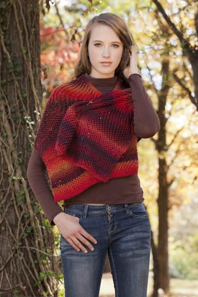 Slanted Net Stole Free Knitting Pattern