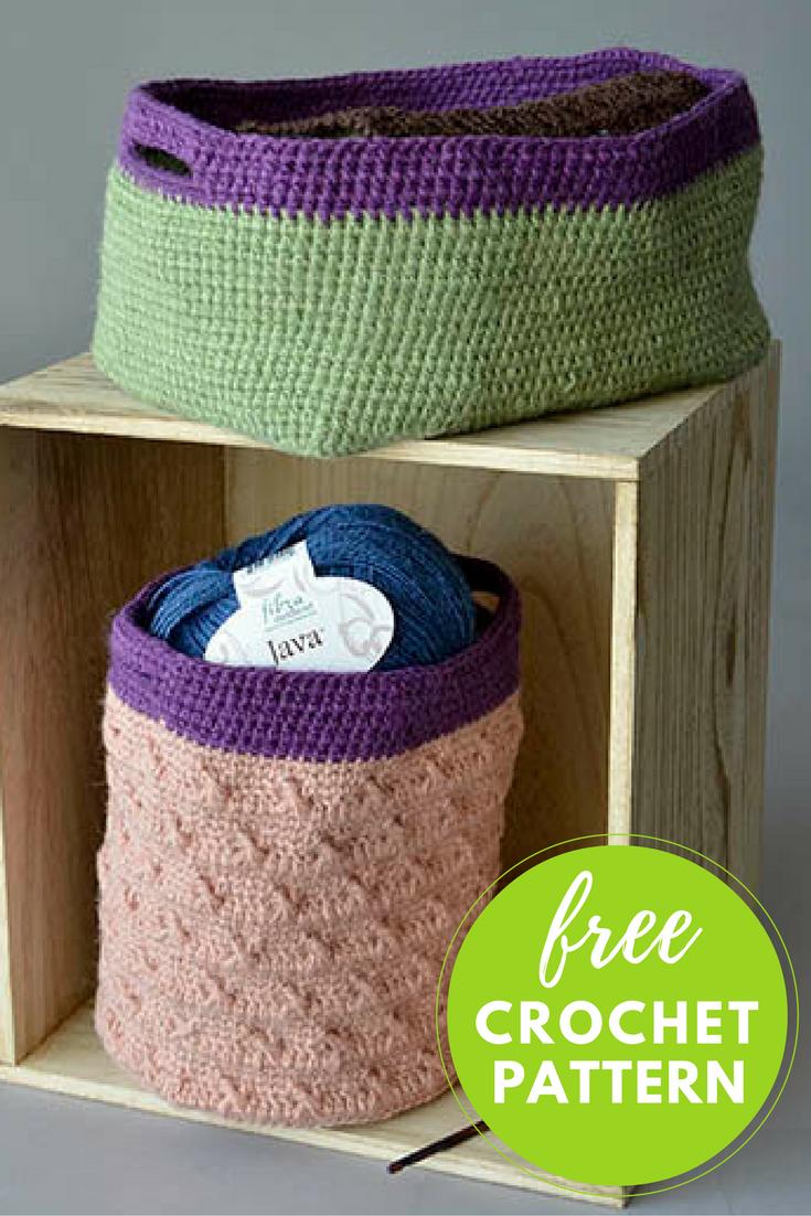 Hemp Baskets Free Crochet Pattern