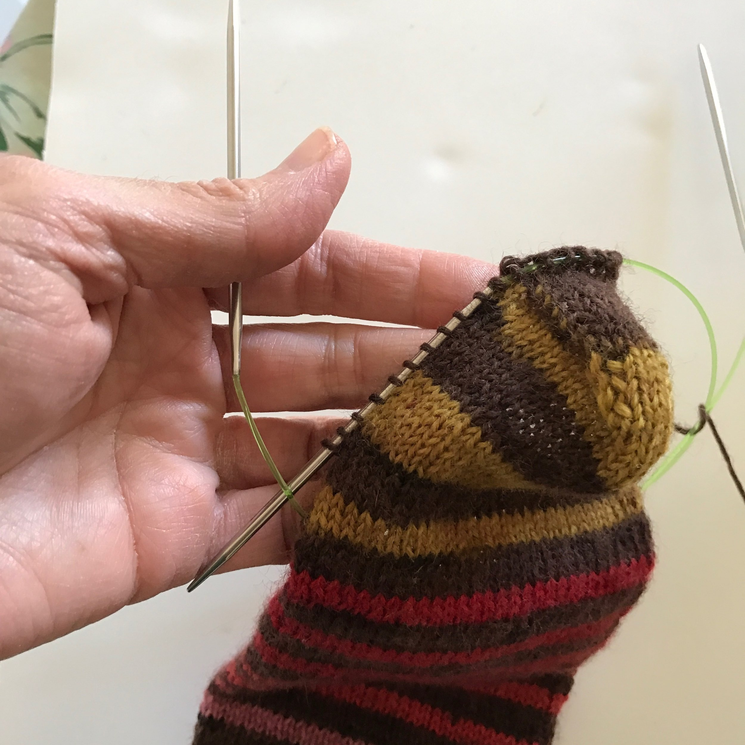 Stitches picked up and ready for next needle