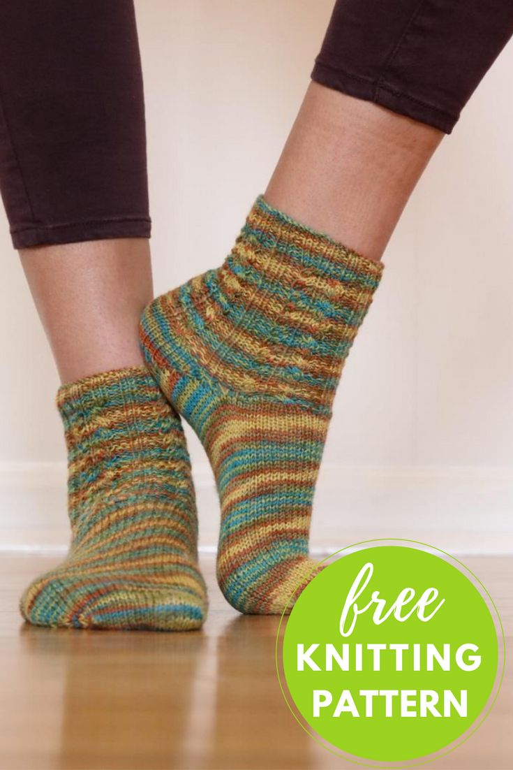 Island Time Socks Free Knitting Pattern - One Skein Project!