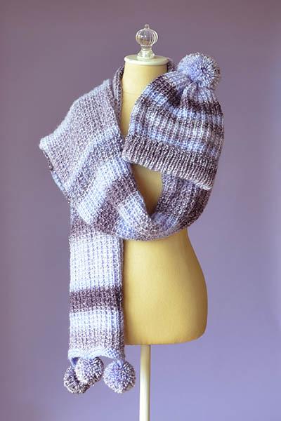 Pomtastic Hat & Scarf Free Knitting Pattern