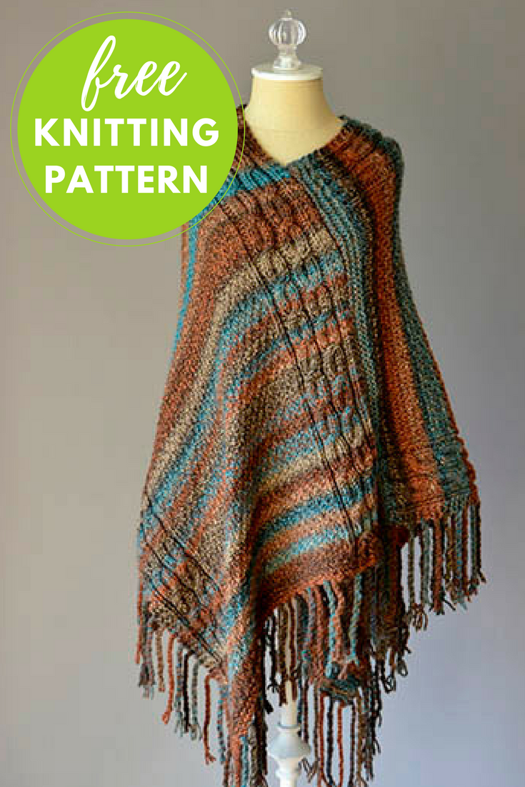 Double Cable Poncho Free Knitting Pattern