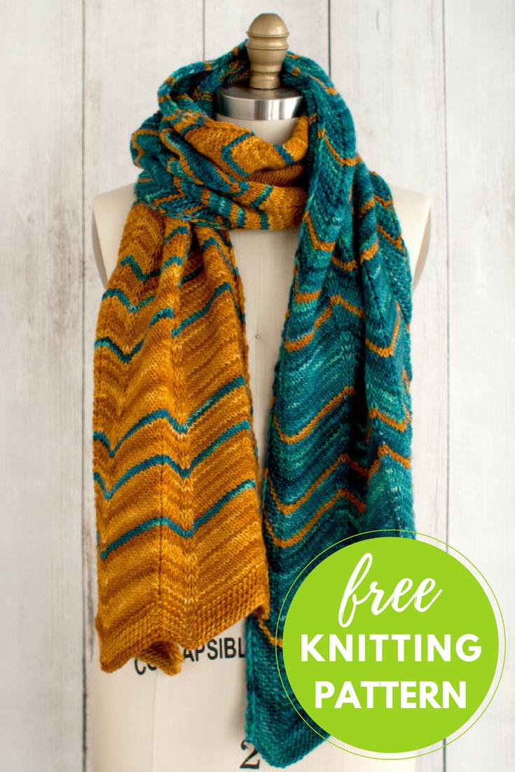 Free Scarf Knitting Pattern - Manos Dentado Chevron Scarf