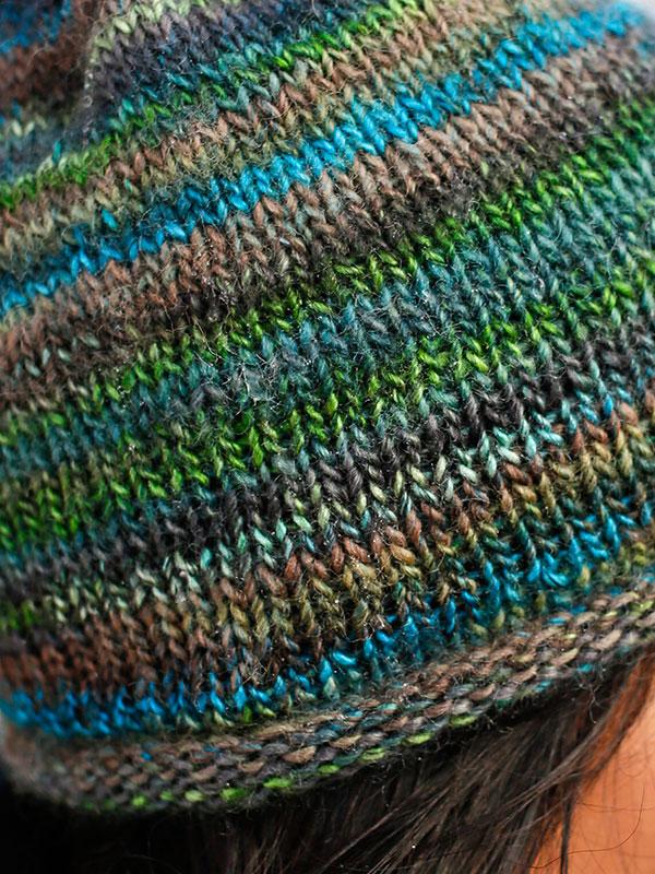 Speedwell Hat Free Knitting Pattern, closeup
