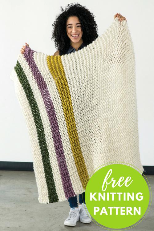 Aput Striped Blanket Free Knitting Pattern