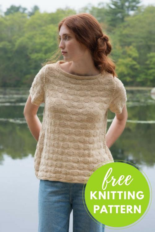 Eastman Tee Pullover Free Knitting Pattern uses Berroco Corsica Yarn