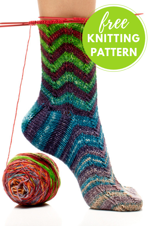 Chevron Striped Socks Free Knitting Pattern