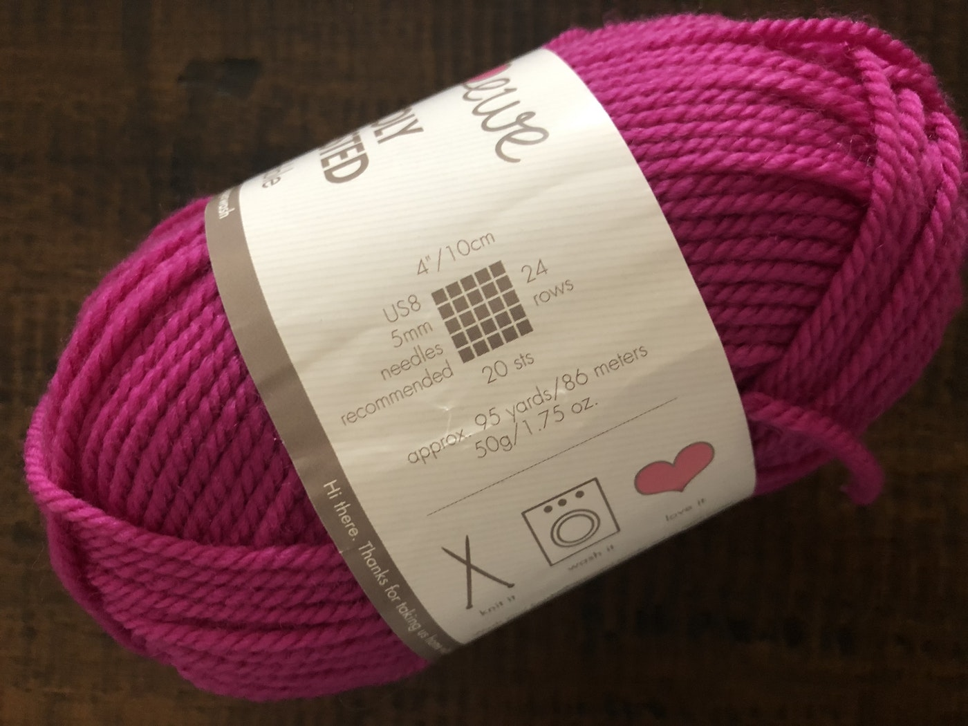 Recommended yarn gauge is found on the yarn label