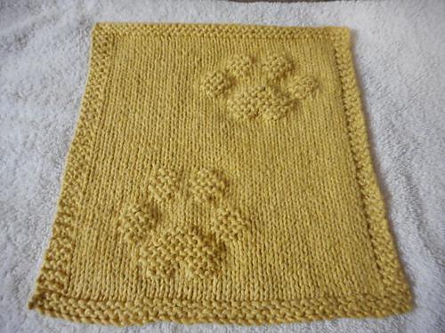 Kitty Prints Dishcloth Free Knitting pattern