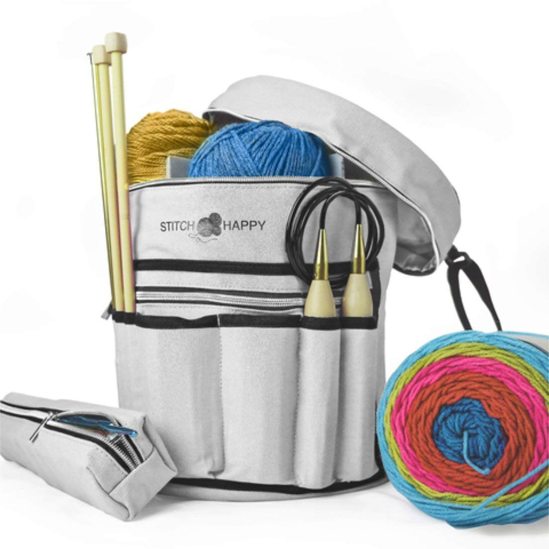 Stitch Happy Knitting Tote Bag