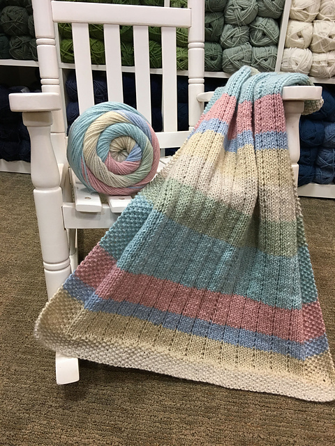 Easy FREE Vertical Lines Baby Blanket Free Knitting Pattern