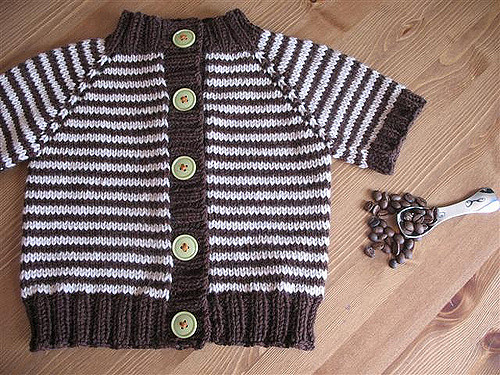 Little Coffee Bean Cardigan Free Knitting Pattern
