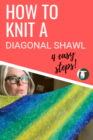 How to Knit a Diagonal Shawl in 4 Easy Steps: Free Beginner Knitting Patterns + Step-by-Step Tutorial Video!