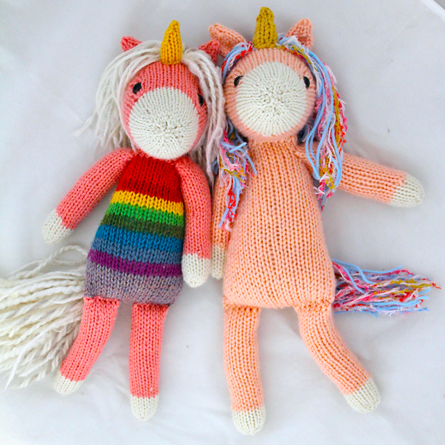 Adorable Unicorn Stuffed Animal Knitting Pattern - Make it solid or in rainbow colors!