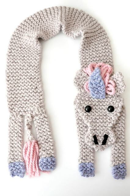 Unicorn Scarf Knitting Pattern - Fast to knit and easy, too!