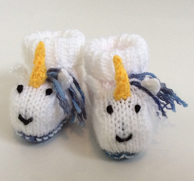 Adorable Unicorn Baby Booties Knitting Pattern
