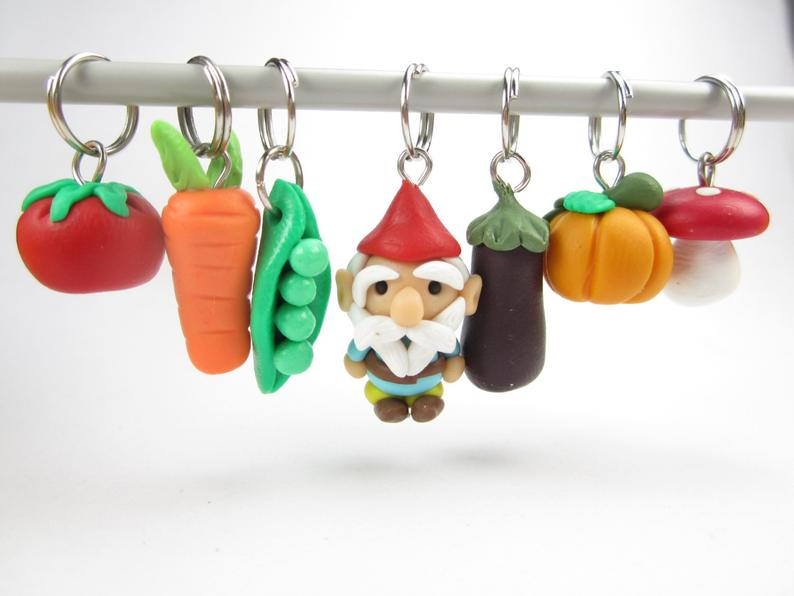 Cute Garden Gnome and Veggies Stitch Marker Set for Knitting
